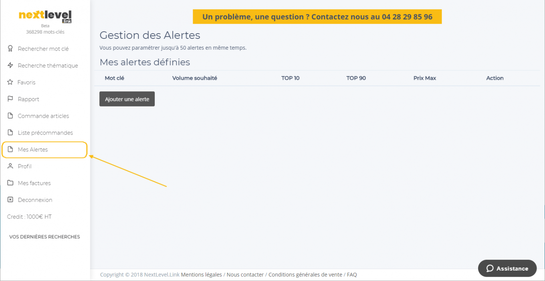Fonctionnalité : Gestion des alertes des articles disponibles pour faire un backlink