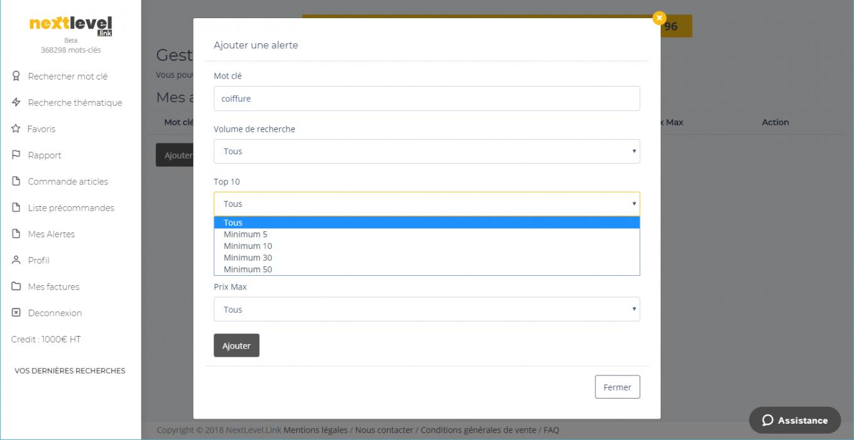 Fonctionnalité : Paramétrage de l'alerte des articles disponibles pour faire un backlink