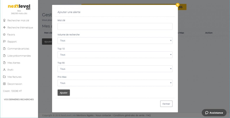 Fonctionnalité : Ajout d'une alerte des articles disponibles pour faire un backlink