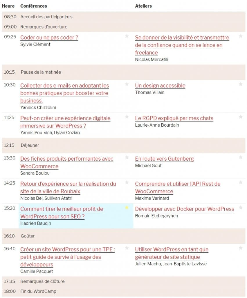 Programme Wordcamp Lille 2018